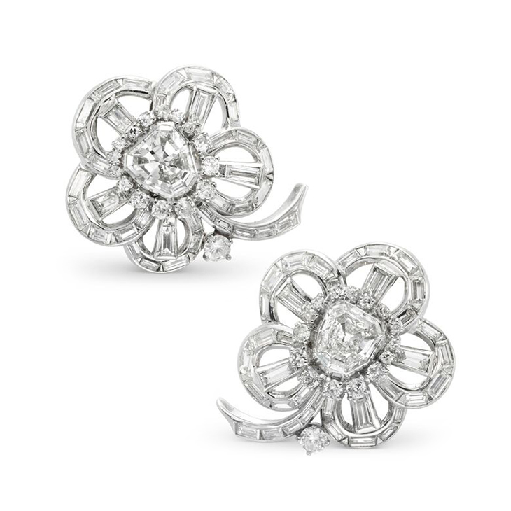 A Pair of Vari-cut Diamond Cluster Ear Clips