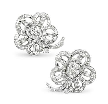 A Pair of Vari-cut Diamond Cluster Ear Clips