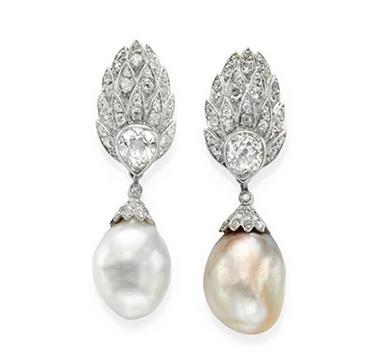 A Pair of Natural Pearl and Diamond Ear Pendants, circa 1935