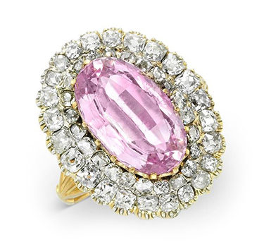 An Antique Pink Topaz And Diamond Cluster Ring, Circa 1890