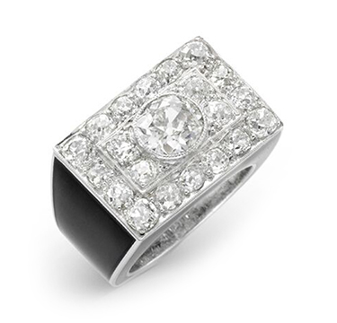 A Diamond and Enamel Plaque Ring