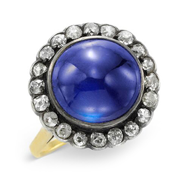 A Late 19th Century Cabochon Sapphire and Diamond ring
