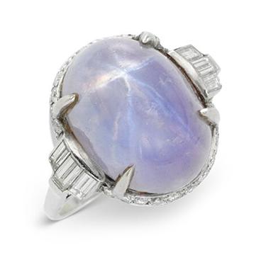 An Art Deco Star Sapphire and Diamond Ring, circa 1925