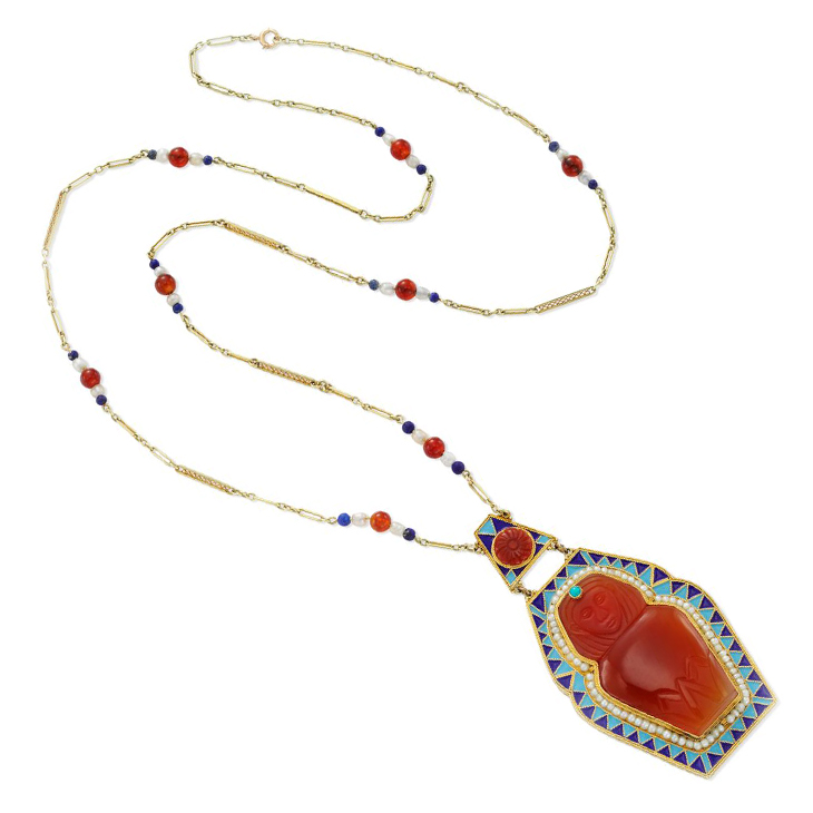 An Egyptian Revival Multi-gem and Gold Necklace, circa 1900