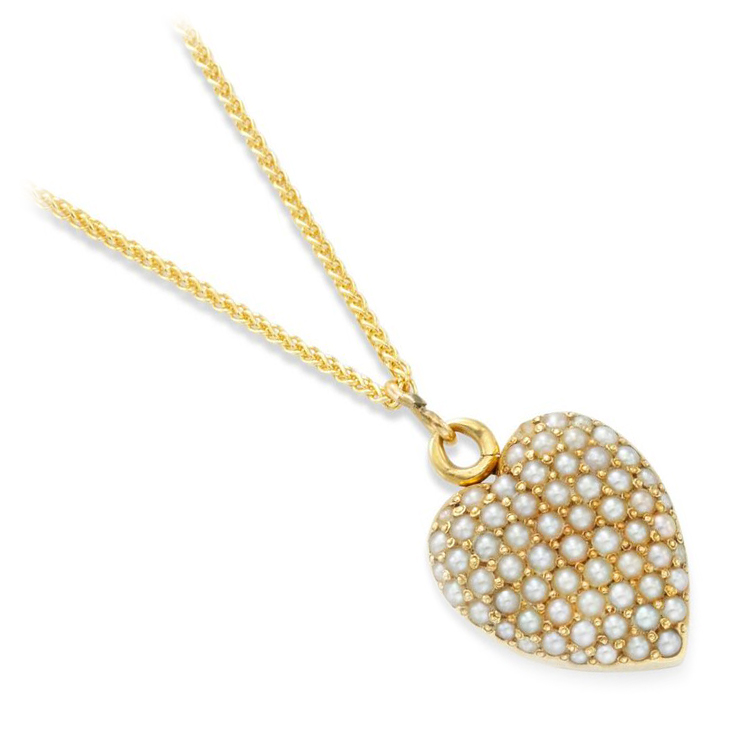 A Late 19th Century Seed Pearl Heart Locket Pendant