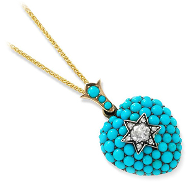 A Late 19th Century Diamond and Turquoise Heart Locket Pendant
