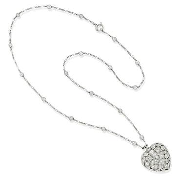 An Edwardian Diamond Heart Locket Pendant Necklace