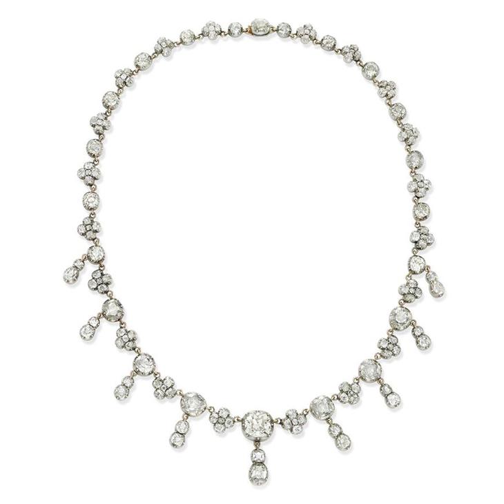 A Late 19th Century Diamond Riviere Pendant Necklace