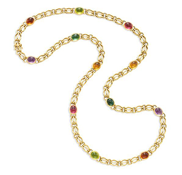 A Multi-gem and Gold Long Chain Necklace, by Bulgari, circa 1985