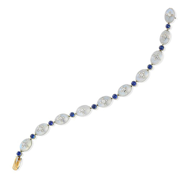 A Belle Epoque Moonstone, Sapphire and Diamond Line Bracelet, circa 1910