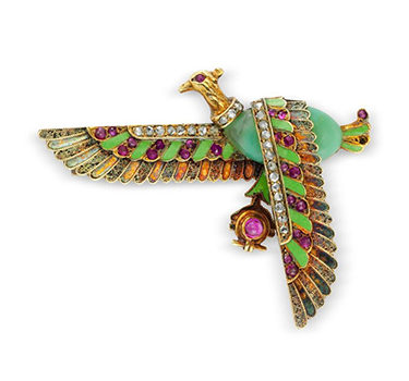 An Egyptian Revival Multi-gem And Diamond Brooch, Late 19th Century