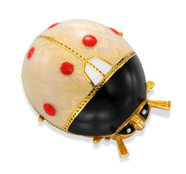 A Mid Century Enamel And Gold Ladybug Brooch, Circa 1950