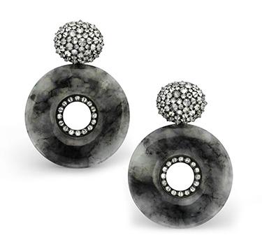A Pair of Jade and Diamond Ear Pendants, by Hemmerle