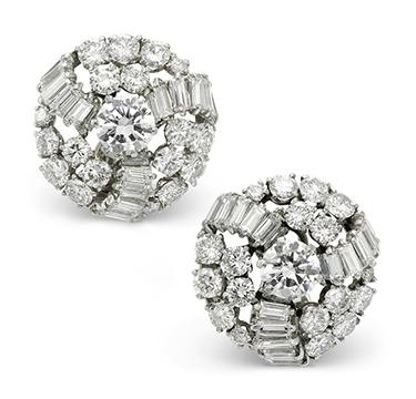 A Pair of Diamond Cluster Ear Clips, by Boucheron, circa 1955