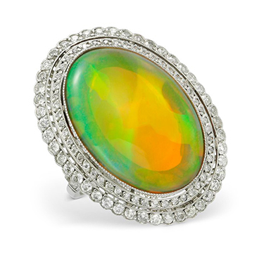 An Early 20th Century Opal and Diamond Ring