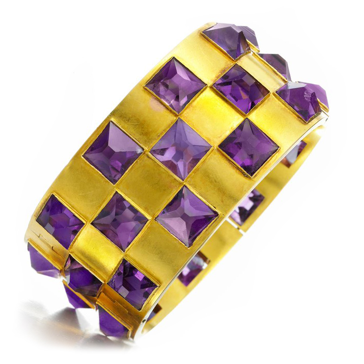 A late 19th Century Pyramidal Amethyst and Gold Bangle Bracelet