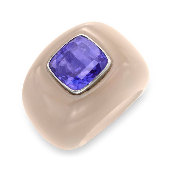 A Purple Sapphire and Chalcedony Ring, by Suzanne Belperron