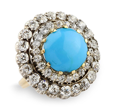 A Turquoise and Diamond Cluster Ring