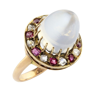 An Early 20th Century Moonstone, Ruby and Diamond Ring, circa 1900