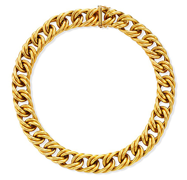A Textured Gold Necklace, by Cartier, circa 1980