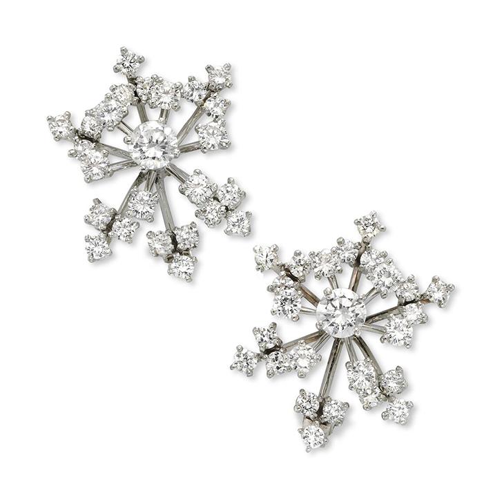 A Pair of Diamond Spray Ear Clips, by Cartier, circa 1960