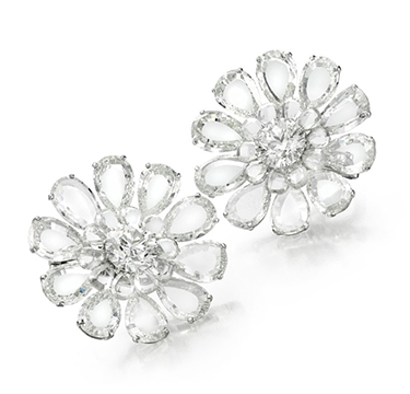 A Pair of Diamond 'Flower' Ear Clips, of approximately 35.00 carats, by BHAGAT