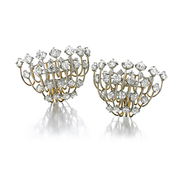 A Pair of Old European-cut Diamond Cluster Ear Clips, of 23.00 carats, by SABBA