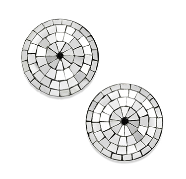 A Pair of Art Deco Silver Mirrored Stud Earrings, by Boivin, circa 1935