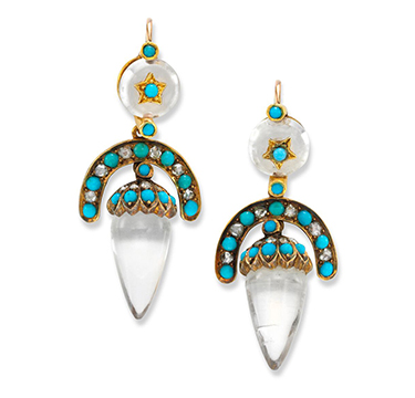 An Antique Pair of Rock Crystal, Turquoise and Diamond Ear Pendants, circa 1880