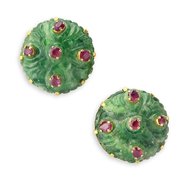A Pair of Early 20th Century Carved Jade and Ruby Stud Earrings