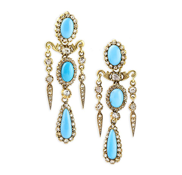 A Pair of late 19th Century Turquoise and Diamond Ear Pendants