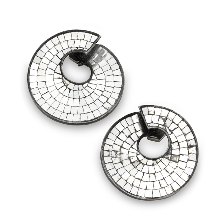 A Pair of Art Deco Silvered Mirror Spiral Ear Clips, by Boivin, circa 1935