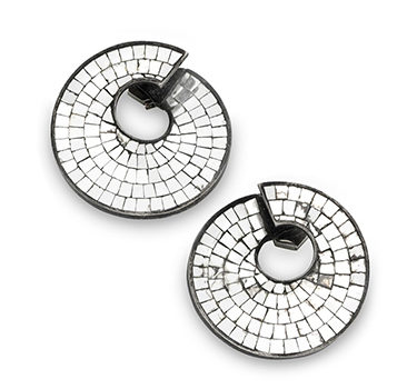 A Pair Of Art Deco Silvered Mirror Spiral Ear Clips, By Boivin, Circa 1935