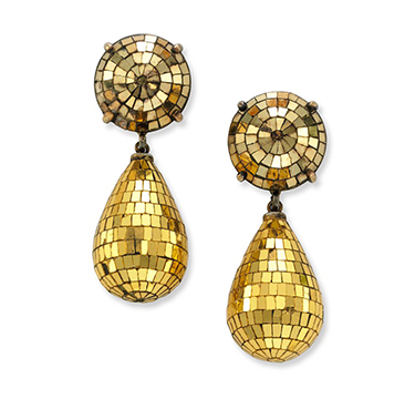 A Pair of Art Deco Gilt Mirror Drop Ear Pendants, by Boivin, circa 1935