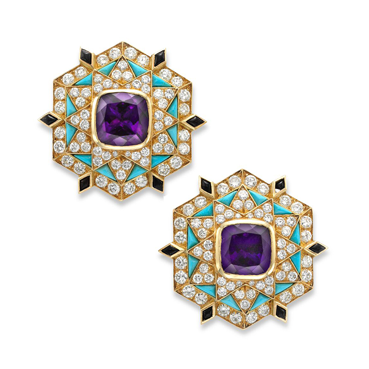 A Pair of Amethyst, Turquoise and Diamond Ear Clips, by Bulgari, circa 1960