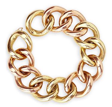 A Gold Bi-colored Bracelet, by Cartier, circa 1950