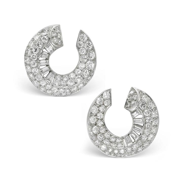 A Pair of Art Deco Diamond Creole Ear Clips, by Cartier, circa 1930