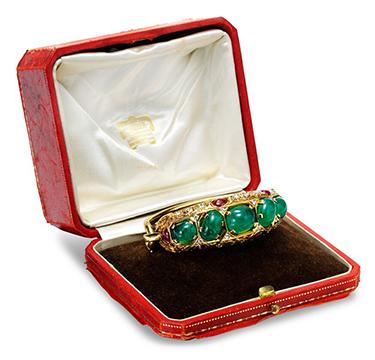 An Emerald, Ruby and Diamond Bracelet, by Cartier, circa 1945