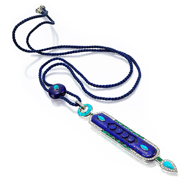 An Egyptian Revival Lapis Lazuli, Turquoise, Emerald and Diamond Pendant, by Cartier, circa 1925