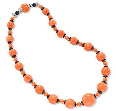 A Coral, Onyx and Diamond Bead Necklace, attributed to Cartier, circa 1935