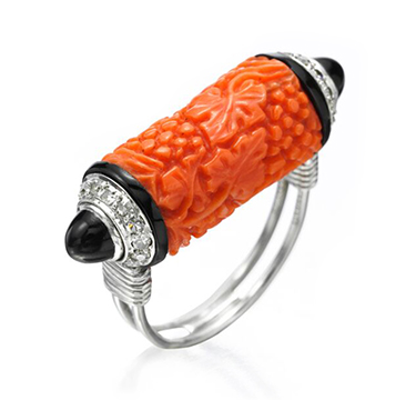 An Art Deco Carved Coral, Enamel and Diamond Ring, by Cartier, circa 1933