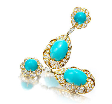 A Pair Of Turquoise And Diamond Ear Pendants, By Cartier, Circa 1975