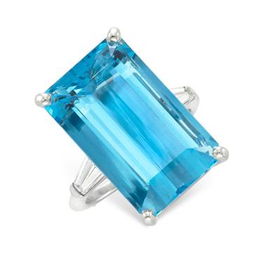 An Aquamarine and Diamond Ring, by Cartier, circa 1950