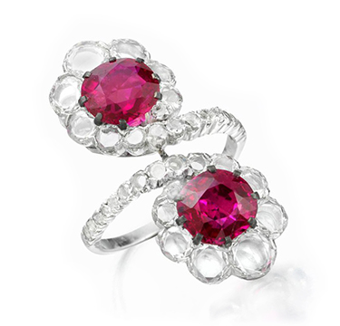 A Burmese Ruby and Diamond Twin Stone Ring, by BHAGAT