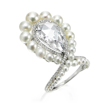 A Natural Pearl and Rose-cut Diamond Ring, by BHAGAT