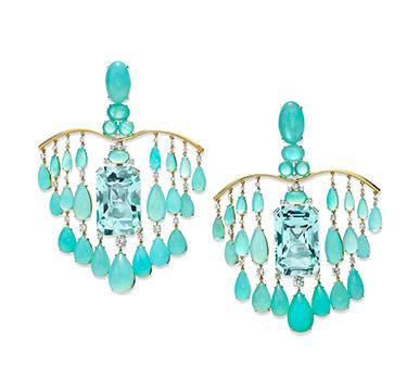 A Pair of Aquamarine and Peruvian Opal Ear Pendants, by SABBA