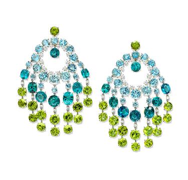 A Pair of Tourmaline, Aquamarine and Peridot Ear Pendants, by SABBA