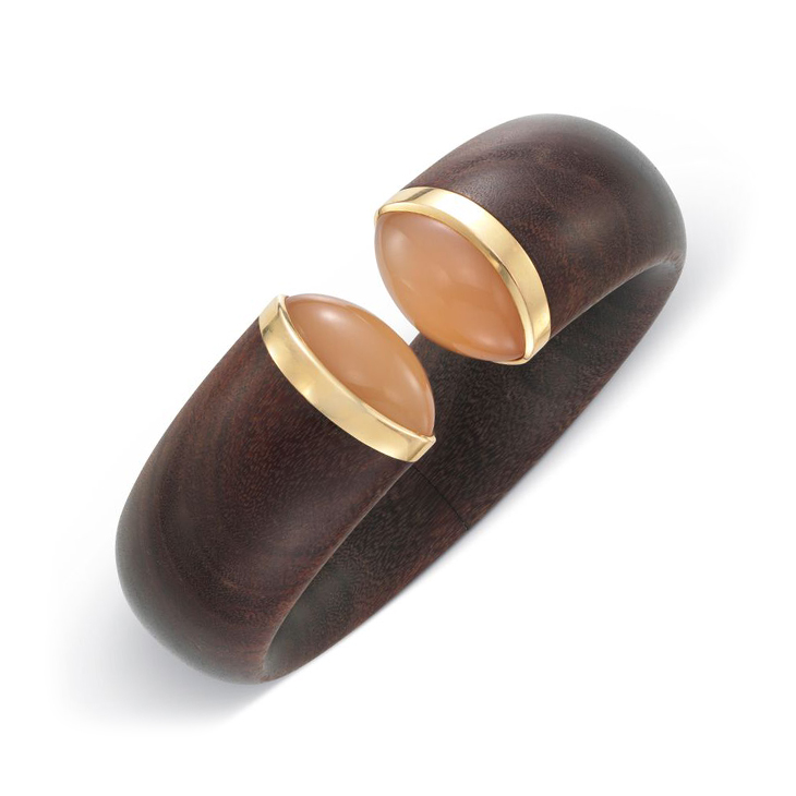 A Wood and Moonstone Cuff Bracelet, by Hemmerle