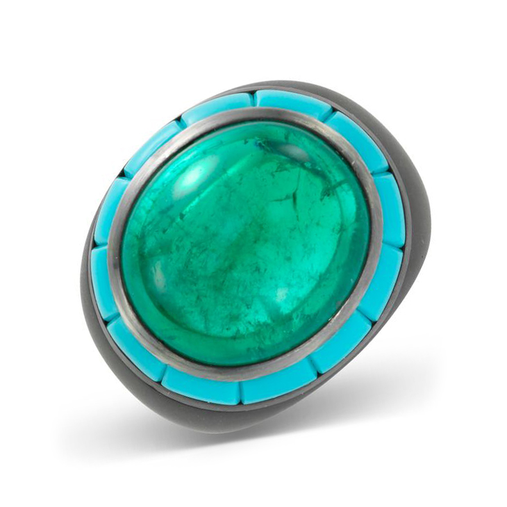 A Cabochon Emerald and Turquoise Ring, by Hemmerle
