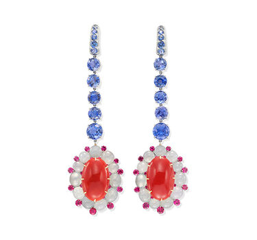 A Pair Of Coral, Sapphire And White Jade Ear Pendants, By SABBA